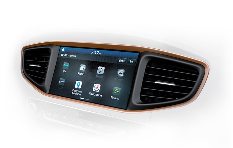 8 inches touch screen of Ioniq Electric